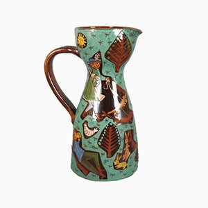 Swiss Ceramic Jug from Thun, 1940s