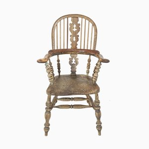 Sedia Windsor antica in frassino e olmo