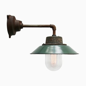 Vintage Industrial Enamel Cast Iron and Clear Glass Sconce, 1950s