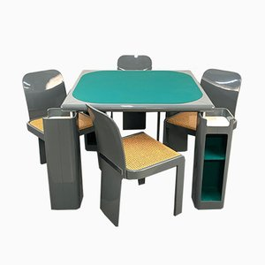 Italian Gray Lacquered Wood Game Table and Chairs Set by Pieluigi Molinari for Pozzi, 1970s