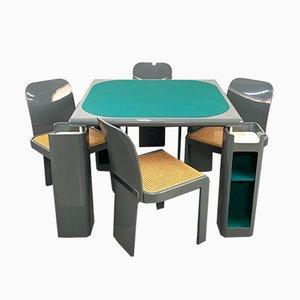 Juego de mesa de juegos y sillas italianas de madera lacada en gris de Pieluigi Molinari para Pozzi, años 70