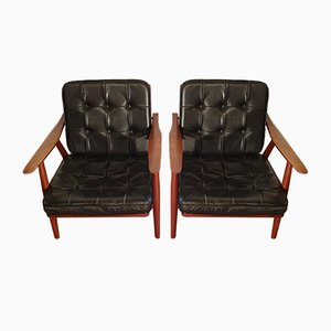 Teak GE-270 Lounge Chairs by Hans Wegner for Getama, 1950s, Set of 2