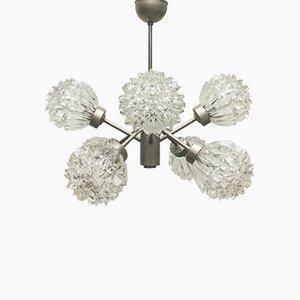Lámpara de araña alemana Mid-Century era espacial de vidrio y metal de Richard Essig, años 60