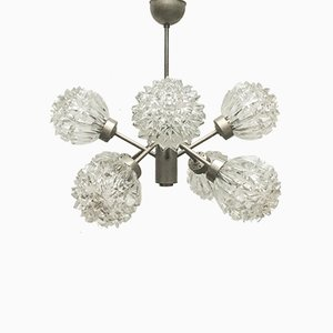 Mid-Century German Space Age Glass and Metal Chandelier from Richard Essig, 1960s