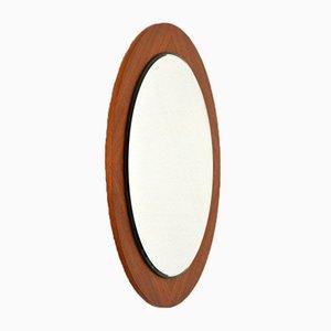 Espejo redondo con marco de teca, años 60