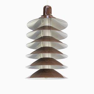 Braune Deckenlampe aus Metall, 1970er