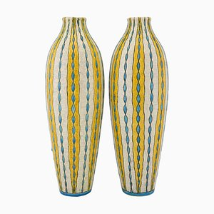 Yellow, Turquoise and White Craquelé Vases by Charles Catteau for Boch Frères, 1923, Set of 2
