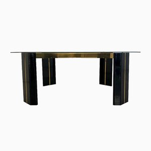 Table Basse en Laiton et Verre par Willy Rizzo, 1970s