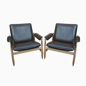 Metal and Leatherette Lounge Chairs, 1970s, Set of 2