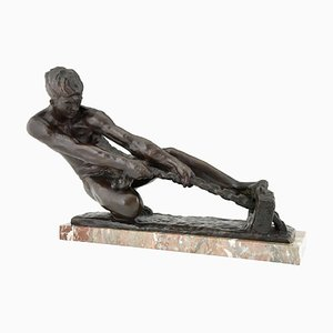 Art Deco Bronze Sculpture of Male Nude Pulling a Rope by Alexandre Kelety for Etling Foundry Paris, 1930s