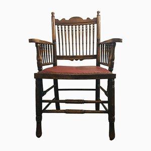 Antiker englischer Arts & Crafts Armlehnstuhl mit Sitz aus rotem Leder