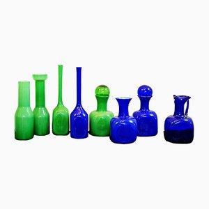 Jarrones azules y verdes de cristal de Murano, años 60. Juego de 8