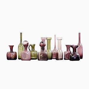 Jarrones de cristal de Murano en rosa y verde, años 60. Juego de 12