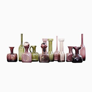 Vasi in vetro di Murano rosa e verde, anni '60, set di 12