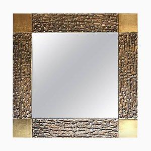 Espejo con marco de bronce de Luciano Frigerio, años 70