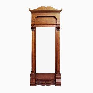 Espejo Biedermeier antiguo con marco de madera de cerezo