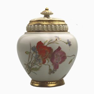 Antique Art Nouveau Model Blush Ivory Potpourri Vase from Royal Worcester, 1890s