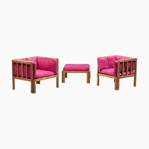 Skandinavisches Set aus Sessel & Fußhocker, 1960er