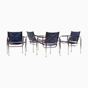 Blaue Armlehnstühle mit Lederbezügen von Hans Eichenberger für Strässle, 1960er, 4er Set