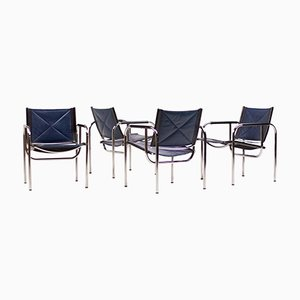 Blue Leather Armchairs by Hans Eichenberger for Strässle, 1960s, Set of 4