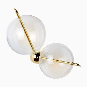 Chemistry Lune Polished Brass Sconce With 2 Lights from Silviomondinostudio