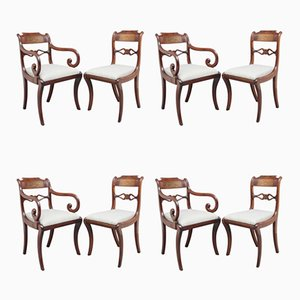 Antique Mahogany and Brass Dining Chairs, Set of 8
