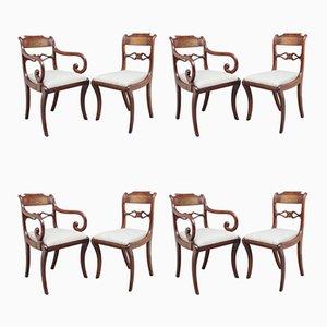 Chaises de Salle à Manger Antiques en Acajou et Laiton, Set de 8