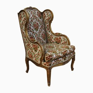 Antique French Gilt Wood Wingback Armchair