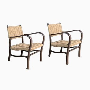Wood and Rope Lounge Chairs, 1960s, Set of 2