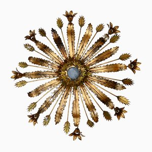 Large Golden Palm Ceiling Lamp, 1960s