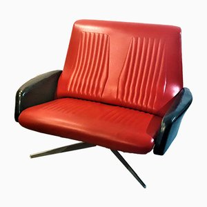 Mid-Century Black and Red Leatherette Sofa