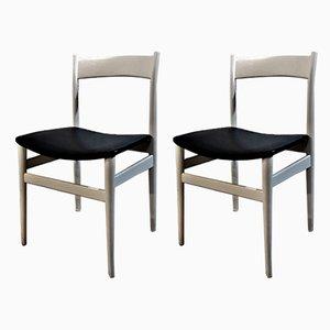 Chaises de Salle à Manger en Satin et Simili Cuir Noir, 1960s, Set de 2