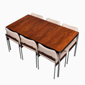 Juego de mesa y sillas de comedor de palisandro y cromo de Sven Ivar Dyste para Thereca, años 60