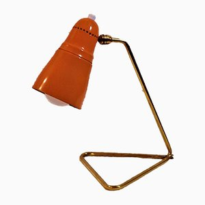 Orange lackierte Tischlampe aus Aluminium, 1950er