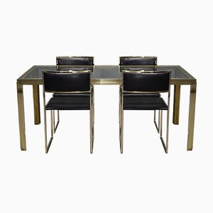Italian Gold Plated Brass Dining Table & Chairs Set by Willy Rizzo, 1970s
