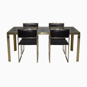 Table et Chaises de Salle à Manger en Laiton Plaqué Or par Willy Rizzo, Italie, 1970s