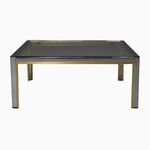 Italian Chrome and Gold Coffee Table from Romeo Rega, 1970s