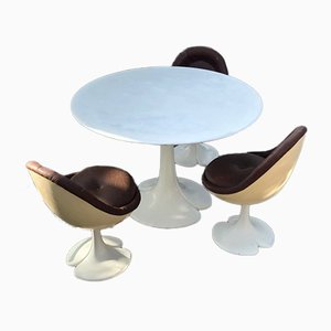 Fiberglass Model Egg Dining Table & Chairs Set by Christian Adam, 1970s