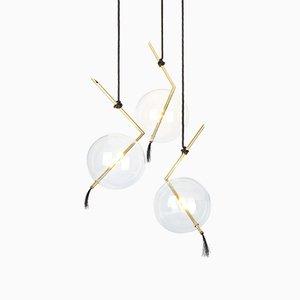 Lámpara de araña Nuvola escultural de 3 luces de Silvio Mondino Studio