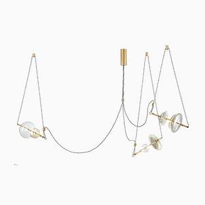 Lámpara de araña Trapezi contemporánea con tres luces