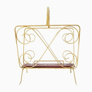 German Gold Metal Magazine Rack, 1960s