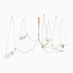 Lámpara de araña Trapezi contemporánea con seis luces
