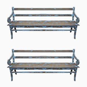 Oak Benches, 1930s, Set of 2