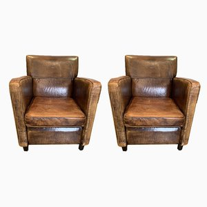 Vintage Dutch Leather Armchairs, Set of 2