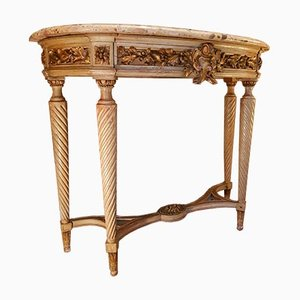 Antiker Louis XVI Konsolentisch aus Holz mit Deckplatte aus Marmor