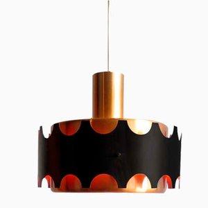 Deckenlampe aus Aluminium in Schwarz & Gold von Doria Leuchten, 1960er