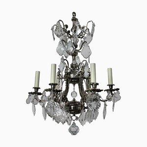 Lámpara de araña francesa antigua de plata y cristal tallado