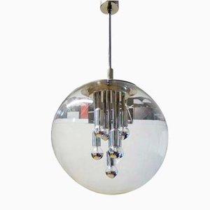 Space Age Sputnik Hängelampe aus Glas & Chrom von Peill & Putzler, 1970er