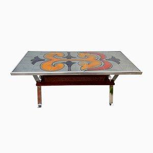 Tavolino da caffè con piastrelle in palissandro, anni '70