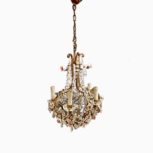 Vintage Crystal Chandelier with Porcelain Roses, 1950s